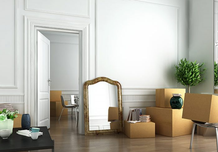 furniture packed in boxes