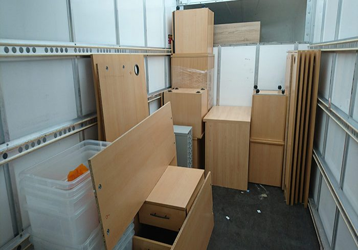 cabinets stacked in moving van
